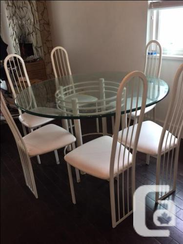 Glass Dining Room Table with Six Chairs - $300OBO