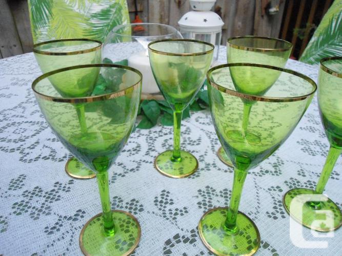 Gorgeous Green Glass Gold Rims Wine Goblets Vintage Set