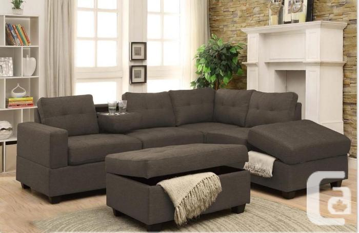 Gray Fabric Sectional Sofa With Storage Box, London