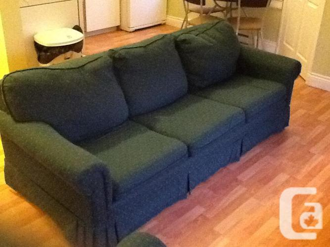Green Hide A Bed Couch And Matching Chair Great Condition For Sale In Victoria British