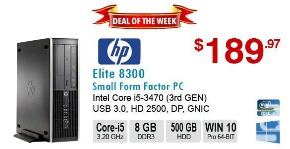 HP Elite 8300 Core I5-3470 3.6GHz 8GB 500GB DVDRW,