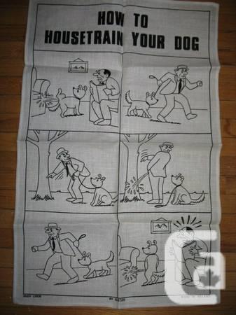 Humorous dog-training peeing / guy Irish linen Ulster -