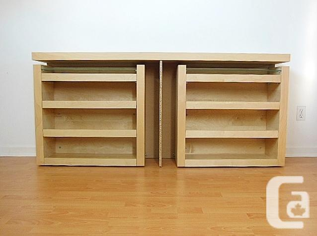 Ikea MALM Queen Size 3-pc Headboard / Bed Shelf Set -