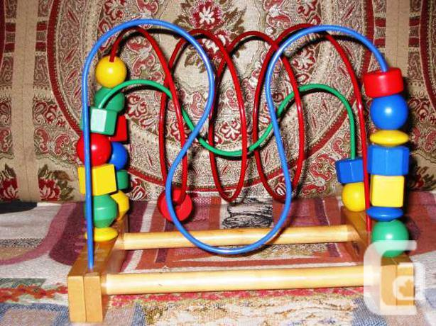 IKEA Wooden Bead Roller Coaster Maze 3 Wires