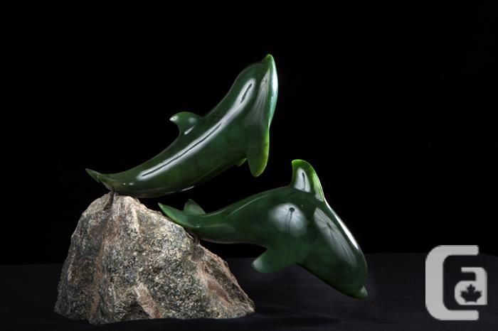 Jade Porpoises Carving By David Wong For Sale In Bowen