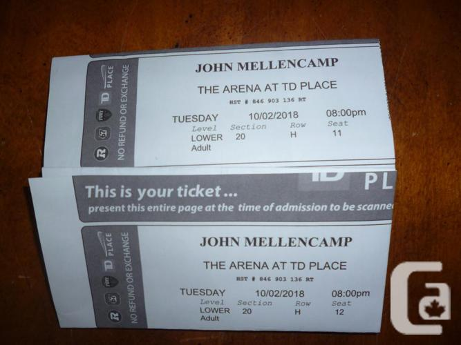 John Mellencamp 2 Lower Section 20 Tickets TD Place