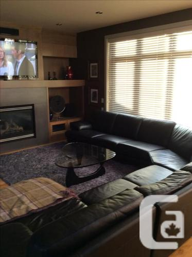 Large black leather sectional