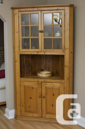 Large kitchen corner hutch made from reclaimed wood -