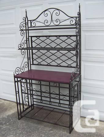 Large metal bakers rack. Wrought iron folding shelf