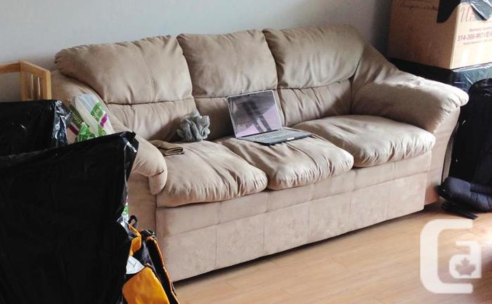 light brown microfibre couch from the Brick, great