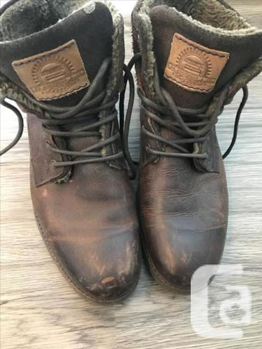Mens Brown Authentic Leather Boots with Lining - size