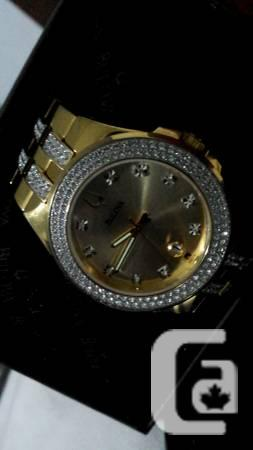 Men's Crystal Watch With GOLD-TONE - $1