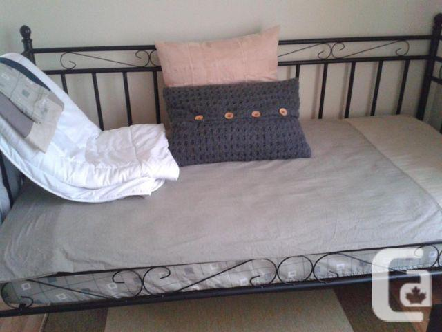 Metal Single Daybed in Black - Mattress included