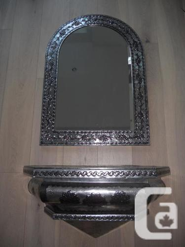 Mexican Metalwork Mirror and Shelf