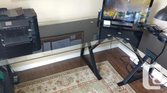 Modern Glass-top Corner Desk