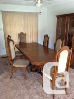 Moving Must Sell - Solid Oak Dinning Set & China