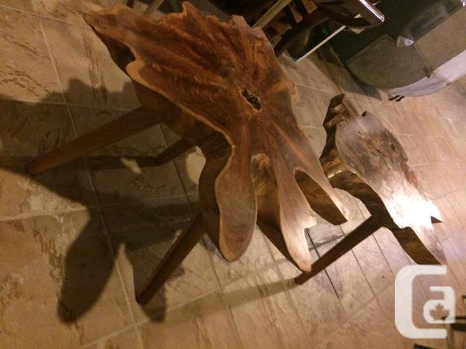 Natural tree trunk carved table only $180