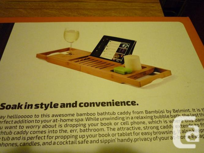 New! Bamboo Bathtub Caddy Tray