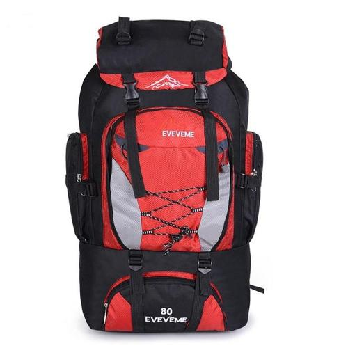 Nylon Rucksack Backpack Bag - 80L - Red