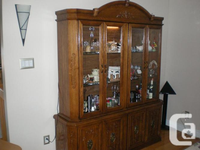 Oak dining room set with buffet and hutch ensemble de for Dining room hutch canada