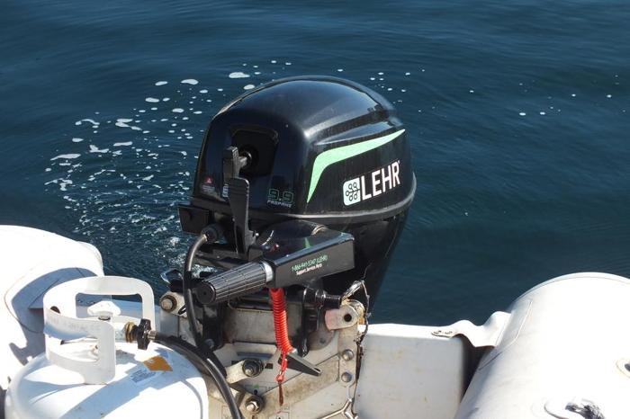 Outboard-Lehr-9.9 Propane, Inflatable, Weaver Davit