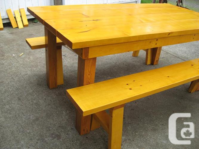 Outdoor table and benches Free Delivery for sale in Sooke British Columbia