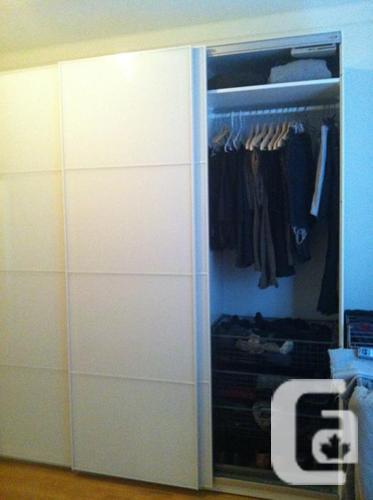 PAX IKEA Wardrobe (Farvik white glass sliding doors)