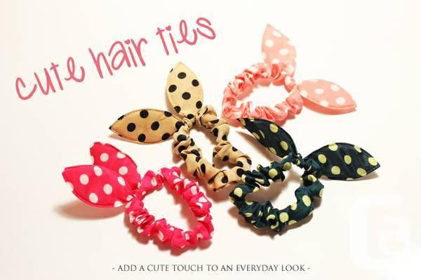 Polka Dot Hair Ties Bunny Rabbit Ear - $1