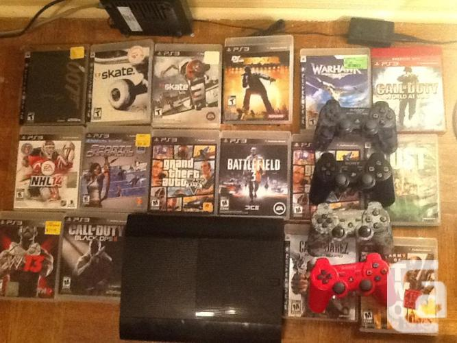 Ps3 500 gb gta edition + 20 games + four controllers