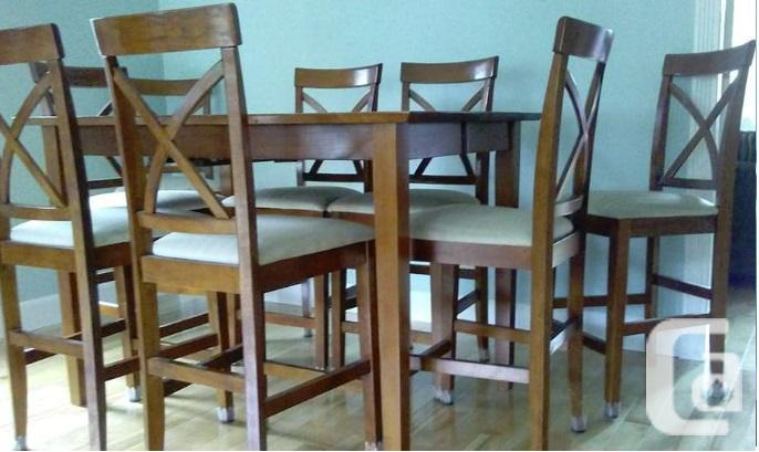 Pub Bar Counter Height Solid Wood Dining Set Table