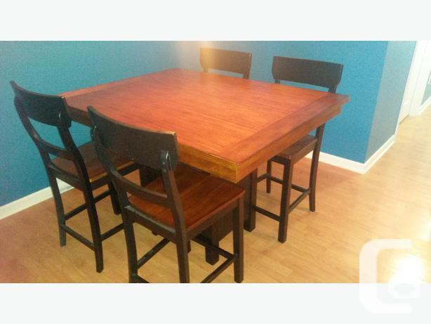 Pub Style Solid Wood Kitchen Table With 4 Chairs For Sale