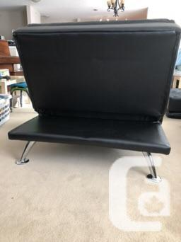 Rarely used Rotola Black Leather Modular Lounger Sofas