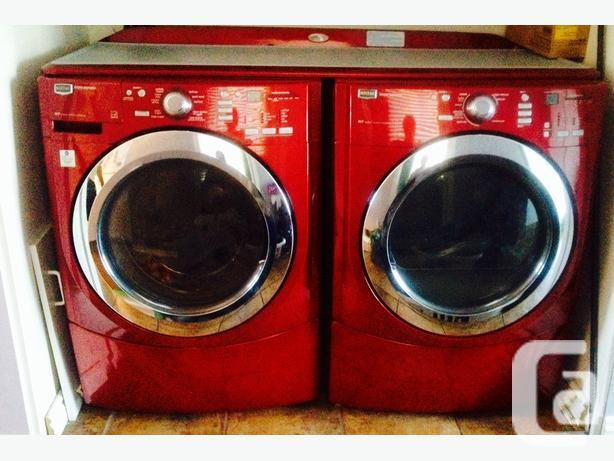 Red Maytag front load washer & dryer