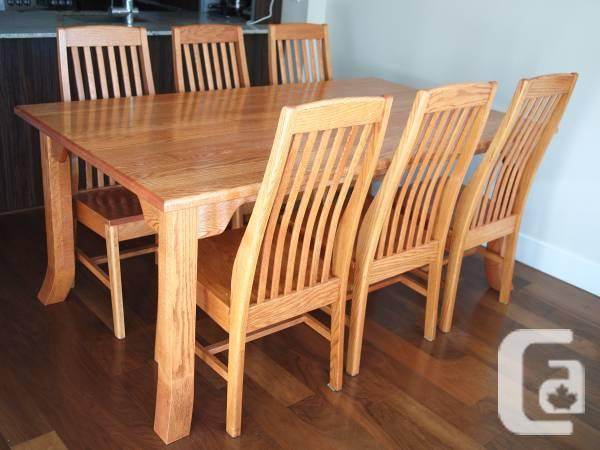 reduced mennonite handcrafted dining table with 6 chairs for sale