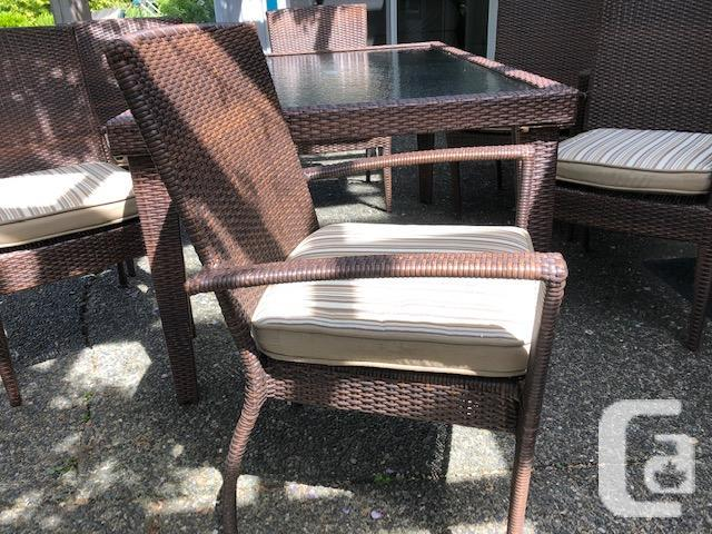 Resin Wicker Glass top table with two chairs