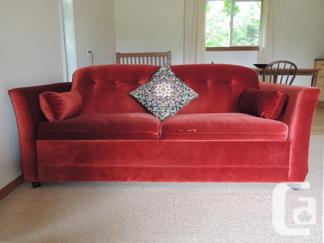 Free Retro Red Velvet Sofa Hide A Bed For Sale In Mill Bay British Columbia Classifieds