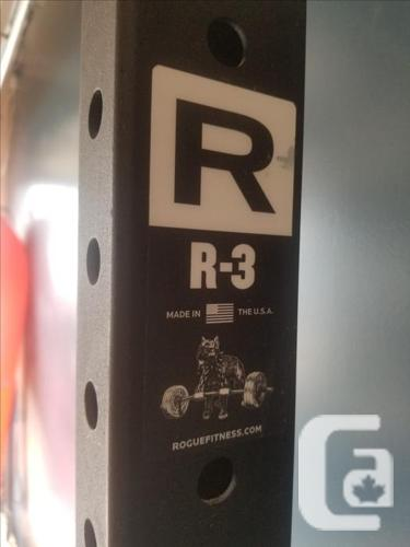 Rogue R3 Rack, Ohio Bar, Plates, Bench, Storage