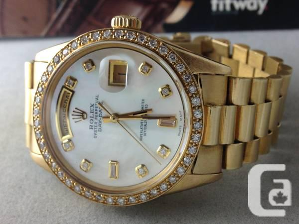 Rolex President Diamond Bezel MOP Dial Men\u0027s Watch All 18k