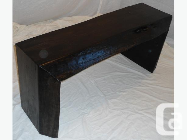 Rustic Live Edge Espresso Pine Slab Bench