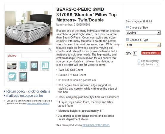 SEARS High Quality Mattress 48
