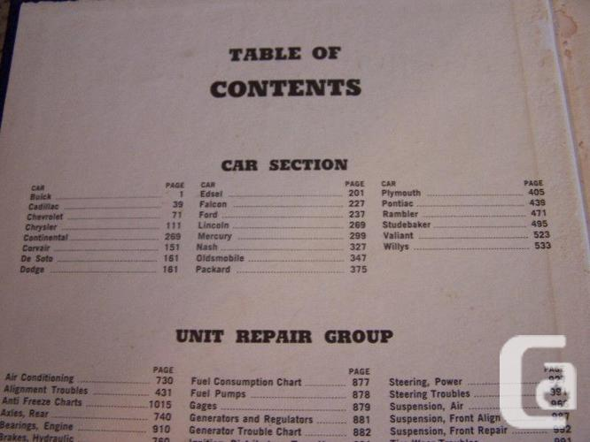 SERVICE MANUALS for ALL 1950s Cars !!