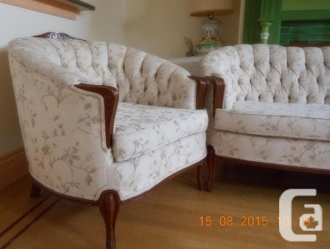 Sofa and chair button back cabriole style couch for sale for Couch sofa for sale bc