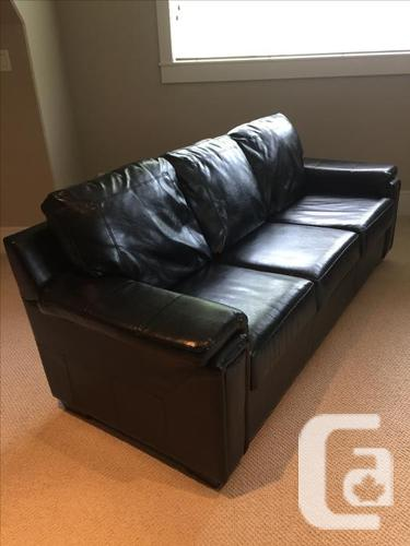 Sofa Set Black Genuine Leather