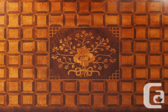 Solid French Mahogany Conv Table /w Marquetry Inlay And