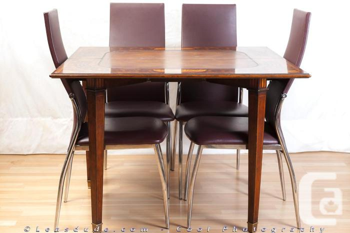 Solid French Mahogany Convertible Table /w Marquetry +