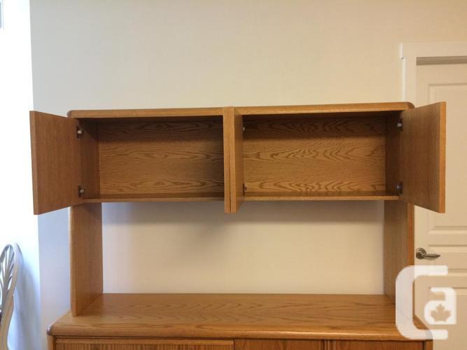Solid Oak Credenza with Detachable Hutch