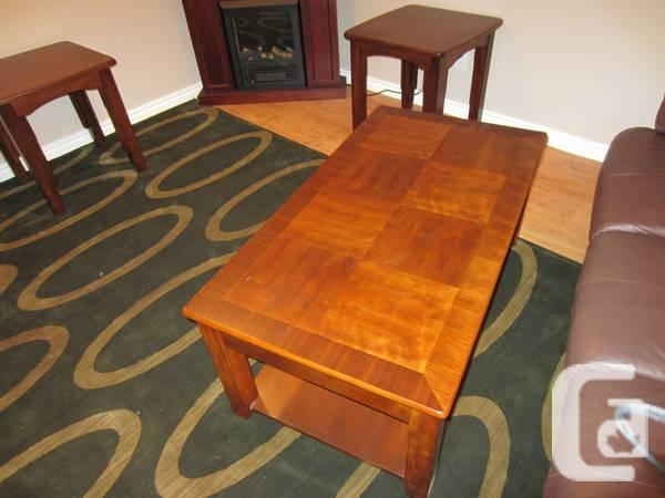Solid wood coffee table with lift top and two side tables for L furniture more kelowna bc