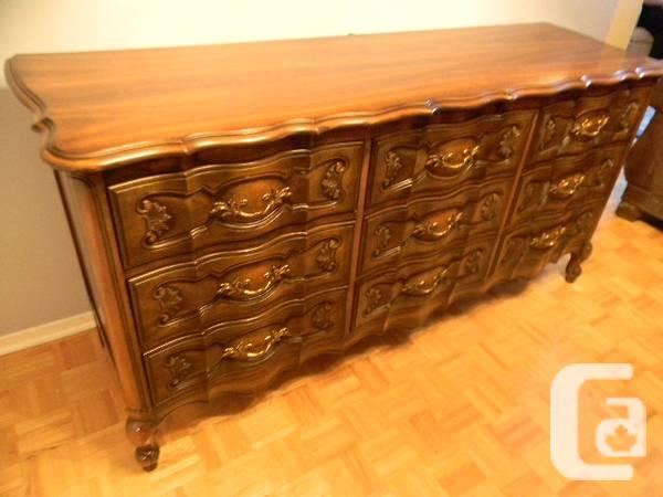 Stunning French Provincial Solid Walnut 9 Drawer Dresser For