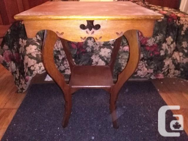 Sturdy Antique Carved 2-Tier Solid Wood Table -