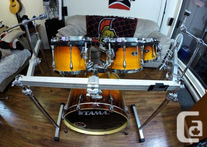 tama superstar custom 6 piece drum kit w pearl rack for sale in vancouver british columbia. Black Bedroom Furniture Sets. Home Design Ideas